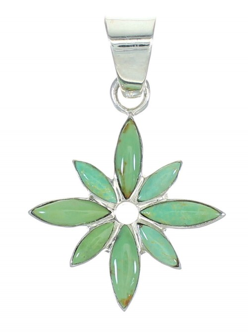 Genuine Sterling Silver Turquoise Flower Pendant MX65364