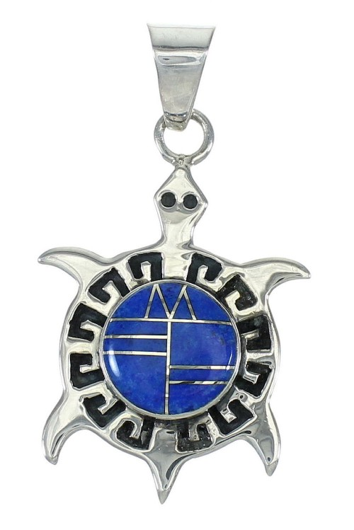 Southwest Lapis Inlay Turtle Sterling Silver Pendant MX64135