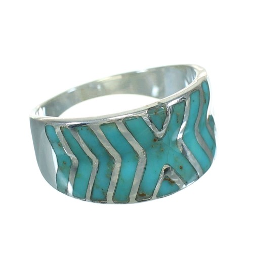 Silver And Turquoise Southwestern Ring Size 6-3/4 YX79213