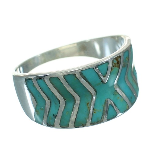 Southwest Turquoise Silver Ring Size 5-1/4 YX79249