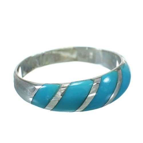 Genuine Sterling Silver Turquoise Southwestern Ring Size 5-3/4 YX79418