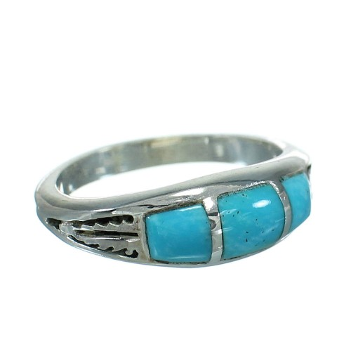 Turquoise Inlay And Genuine Sterling Silver Southwestern Ring Size 4-3/4 WX79303
