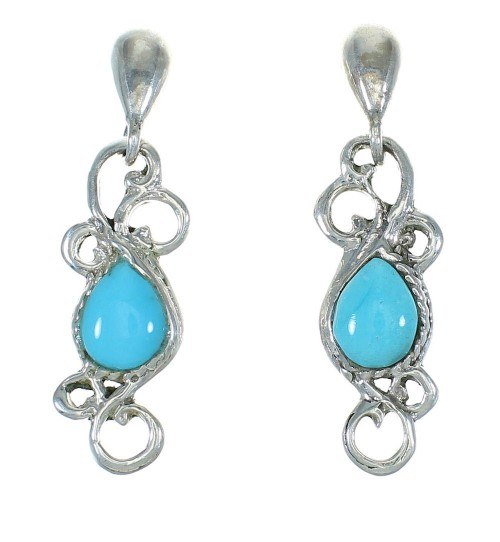 Turquoise Southwest Sterling Silver Post Dangle Earrings MX63540