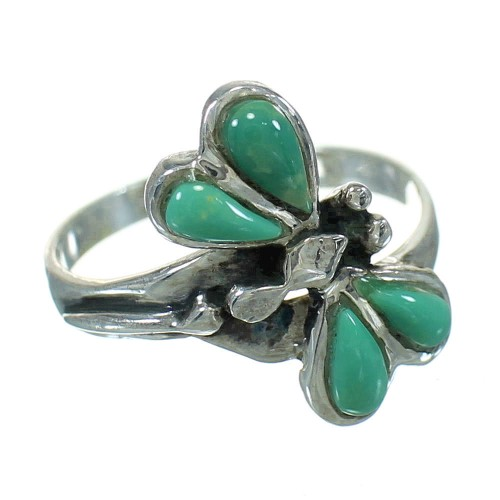 Silver Turquoise Inlay Southwest Dragonfly Jewelry Ring Size 6-1/4 AX79494
