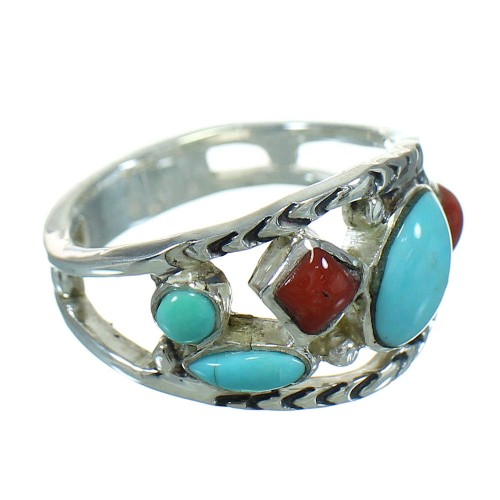 Turquoise And Coral Silver Southwestern Jewelry Ring Size 5-1/2 AX82064