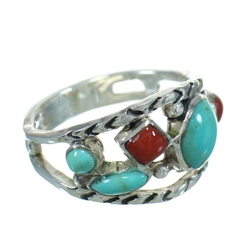 Sterling Silver Southwestern Coral Turquoise Ring Size 5-1/2 AX82079