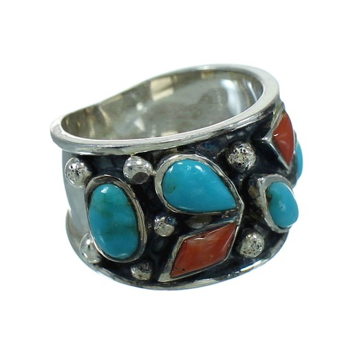 Coral Turquoise Southwest Jewelry Silver Ring Size 4-1/2 AX82250