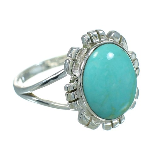 Turquoise And Authentic Sterling Silver Southwest Ring Size 7-1/4 YX69958