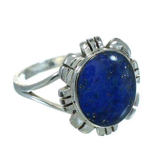 Southwest Lapis And Silver Ring Size 4-1/2 YX70016