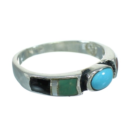 Silver Multicolor Inlay Southwest Ring Size 5-1/2 QX70663