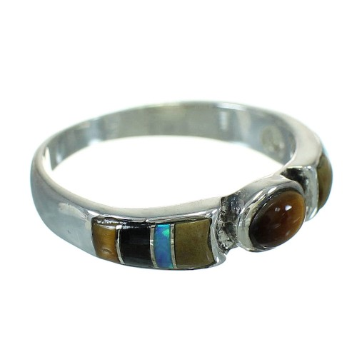 Southwestern Genuine Sterling Silver Multicolor Inlay Ring Size 8-1/4 QX70731