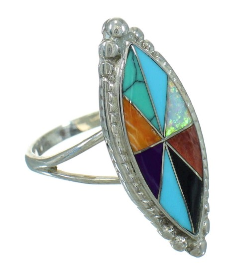 Sterling Silver Southwestern Multicolor Inlay Ring Size 7-1/2 QX71000