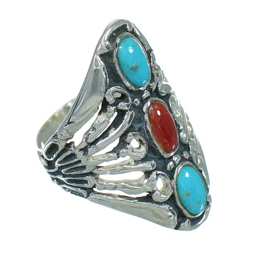 Southwestern Sterling Silver Turquoise And Coral Ring Size 7-1/4 WX82514