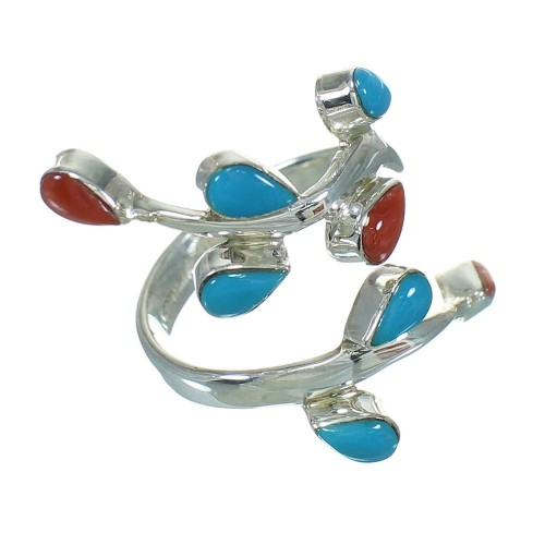 Southwestern Genuine Sterling Silver Turquoise Coral Ring Size 7-1/4 QX82904