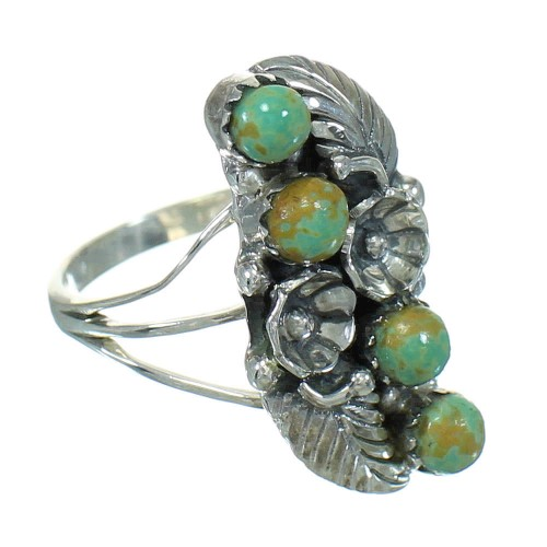 Turquoise Sterling Silver Southwestern Flower Ring Size 5 YX81010