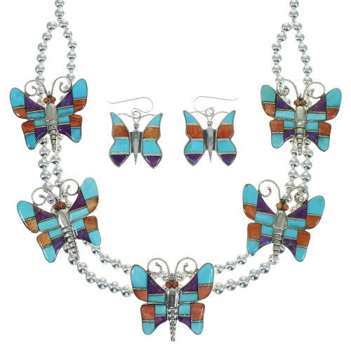 Southwest Multicolor Sterling Silver Butterfly Necklace And Earrings Set WX65322