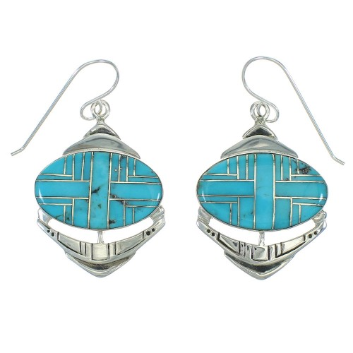 Silver And Turquoise Hook Dangle Earrings YX78763