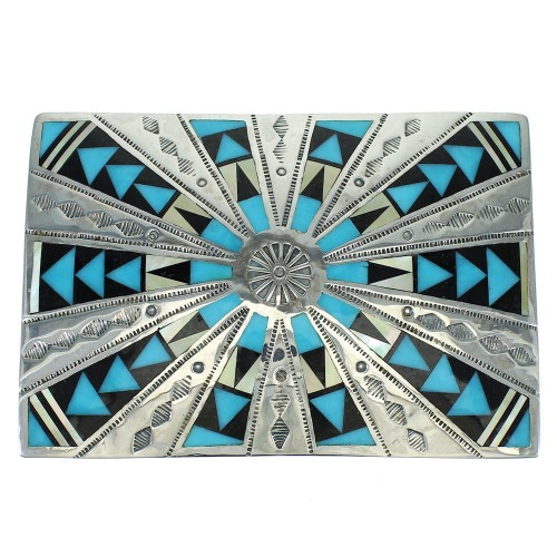Sterling Silver Multicolor Inlay Belt Buckle VX64750
