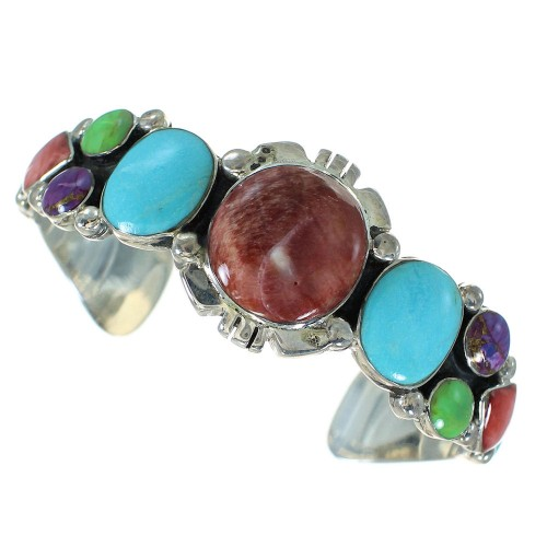 Genuine Sterling Silver And Southwest Multicolor Bracelet VX65016