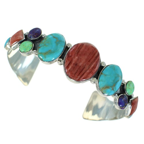 Multicolor And Sterling Silver Cuff Bracelet VX65021