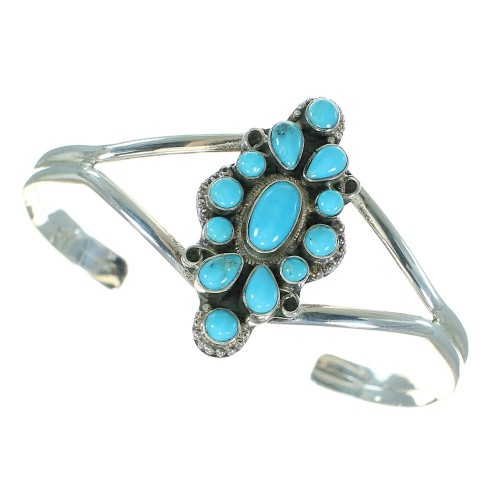 Genuine Sterling Silver Turquoise Cuff Bracelet Jewelry VX64841