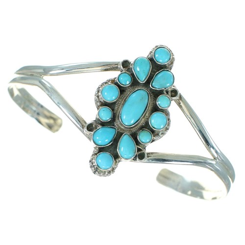 Authentic Sterling Silver Turquoise Cuff Bracelet Jewelry VX64843
