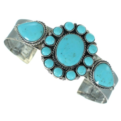 Turquoise Genuine Sterling Silver Cuff Bracelet VX64888