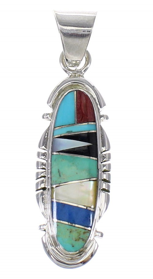 Sterling Silver Southwest Multicolor Inlay Jewelry Pendant MX64950