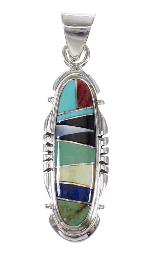 Southwest Sterling Silver Multicolor Inlay Jewelry Pendant MX64953