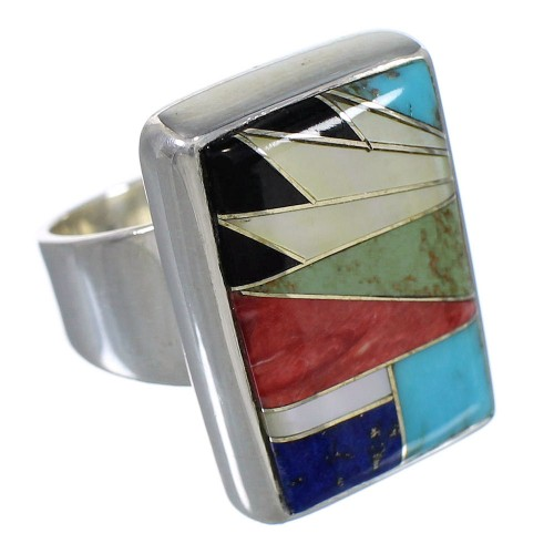 Multicolor And Sterling Silver Southwestern Ring Size 5-1/2 YX77506