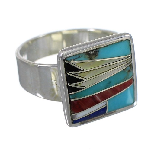 Southwestern Silver Multicolor Ring Size 8 YX77531