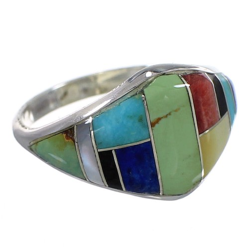 Authentic Sterling Silver Southwestern Multicolor Inlay Ring Size 7-1/2 QX75194