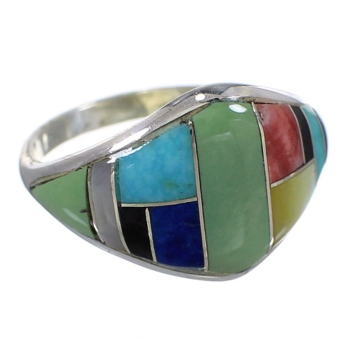 Southwest Genuine Sterling Silver Multicolor Inlay Ring Size 7-1/4 QX75203