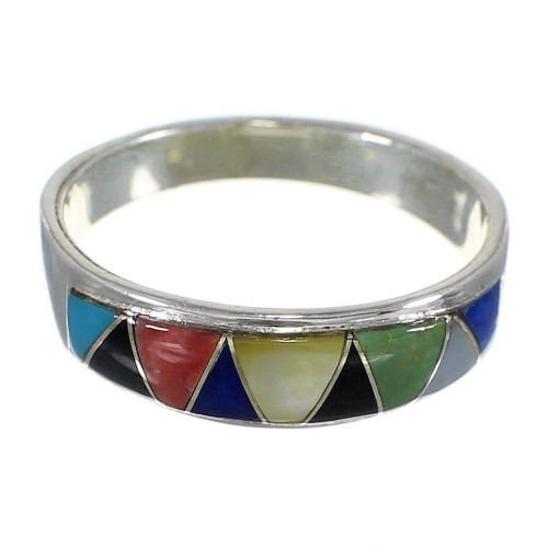 Southwestern Silver Multicolor Inlay Jewelry Ring Size 5-3/4 QX75292