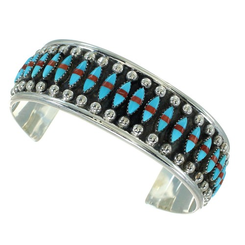 Southwest Turquoise Coral Sterling Silver Cuff Bracelet RX65456