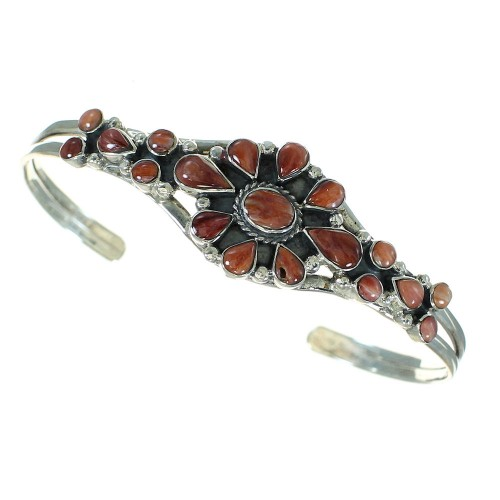 Red Oyster Shell Sterling Silver Southwest Cuff Bracelet RX65514