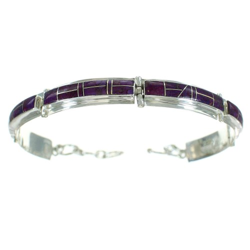 Genuine Sterling Silver Magenta Turquoise Inlay Link Bracelet RX65532