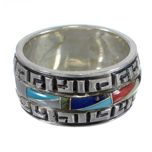 Multicolor Inlay And Silver Southwestern Ring Size 8-3/4 YX75560