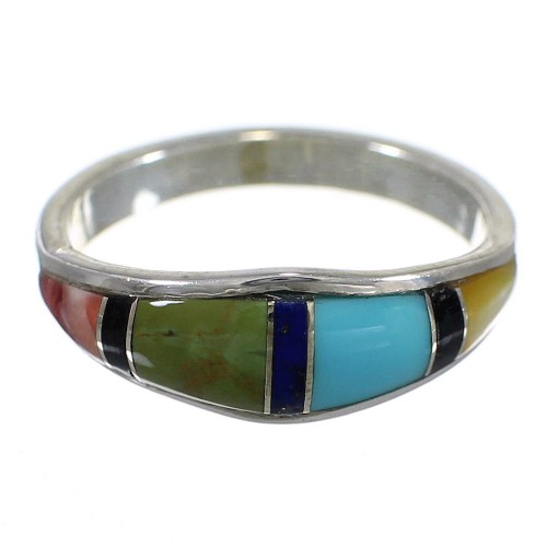 Southwestern Multicolor Inlay Genuine Sterling Silver Ring Size 4-1/2 QX77937