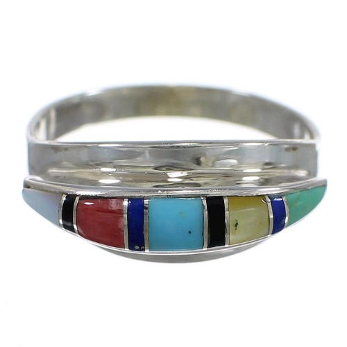 Silver Southwestern Multicolor Ring Size 7 QX78068