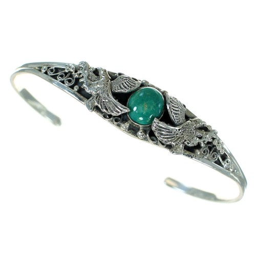 Authentic Sterling Silver Turquoise Eagle Cuff Bracelet VX65222