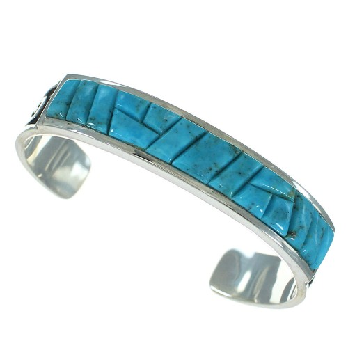 Authentic Sterling Silver And Turquoise Water Waves Cuff Bracelet VX65403