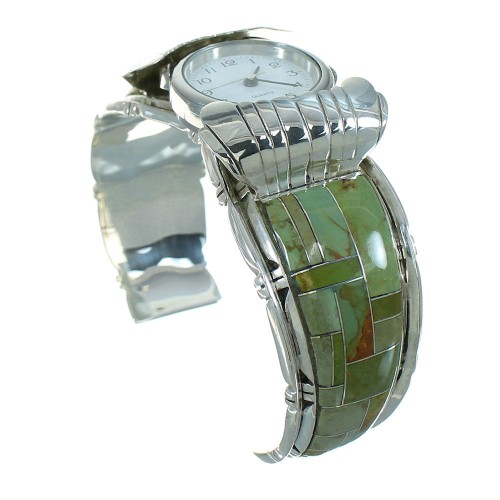 Southwest Genuine Sterling Silver Turquoise Cuff Watch VX65737