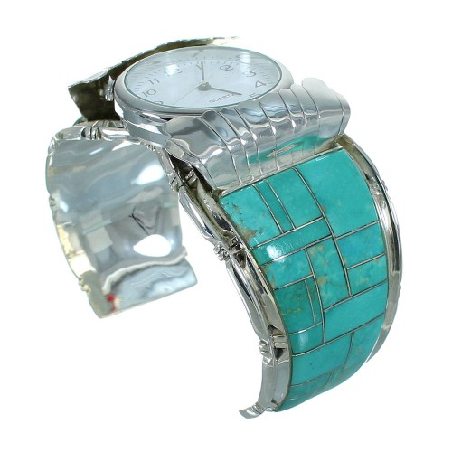 Genuine Sterling Silver Southwestern Turquoise Cuff Watch RX65851
