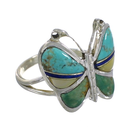 Silver And Multicolor Inlay Butterfly Southwestern Ring Size 4-3/4 WX75234