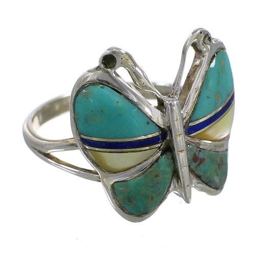 Multicolor Inlay And Silver Butterfly Southwestern Ring Size 8-1/4 WX75314
