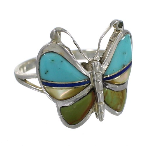 Multicolor Inlay And Silver Southwestern Butterfly Ring Size 8-1/2 WX75319