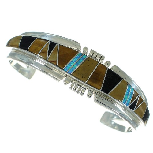 Southwest Sterling Silver Multicolor Inlay Cuff Bracelet RX69186