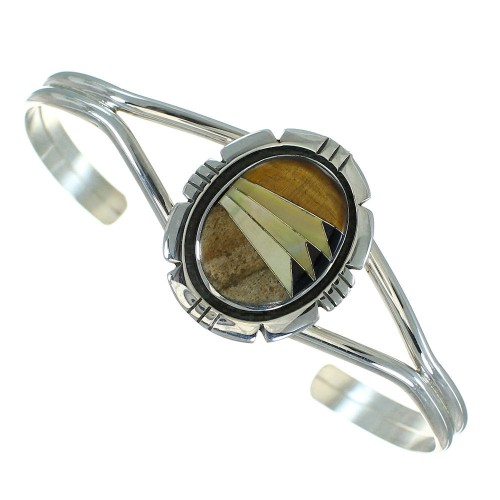 Multicolor Inlay Sterling Silver Southwest Cuff Bracelet RX69197