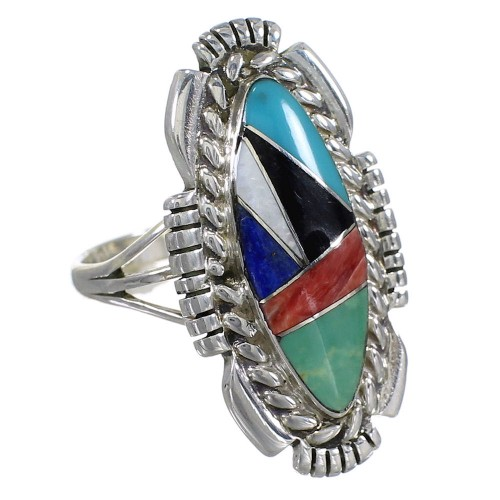 Authentic Sterling Silver Southwest Multicolor Inlay Ring Size 8-1/2 QX77490
